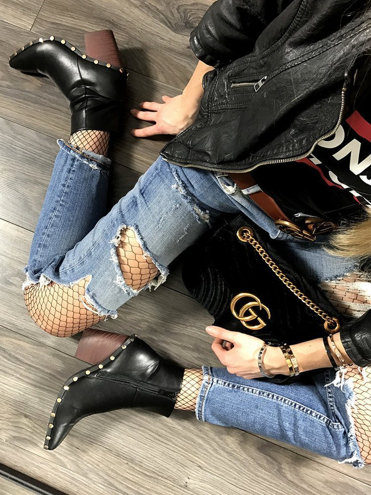 LU BOO BLACK ANKLE COWBOY BOOTS STUDDED RODEO CHUNKY