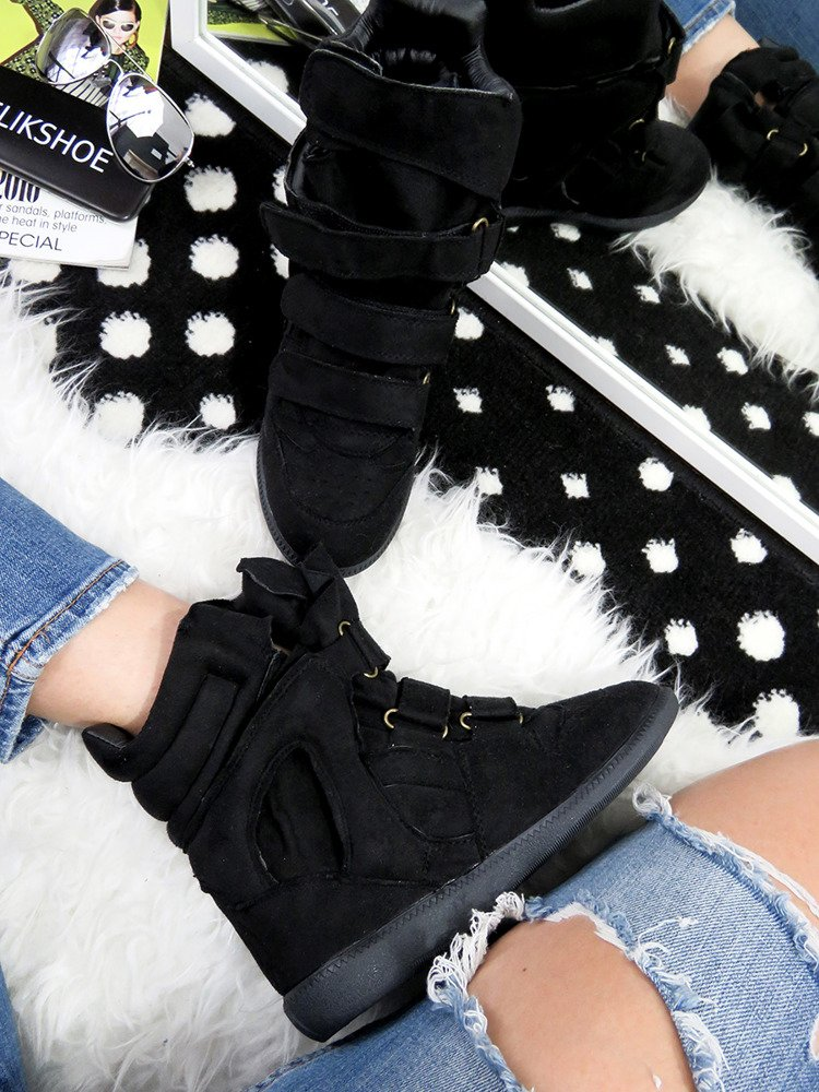 LU BOO BLACK FAUX SUEDE WEDGE SNEAKERS WITH VELCRO
