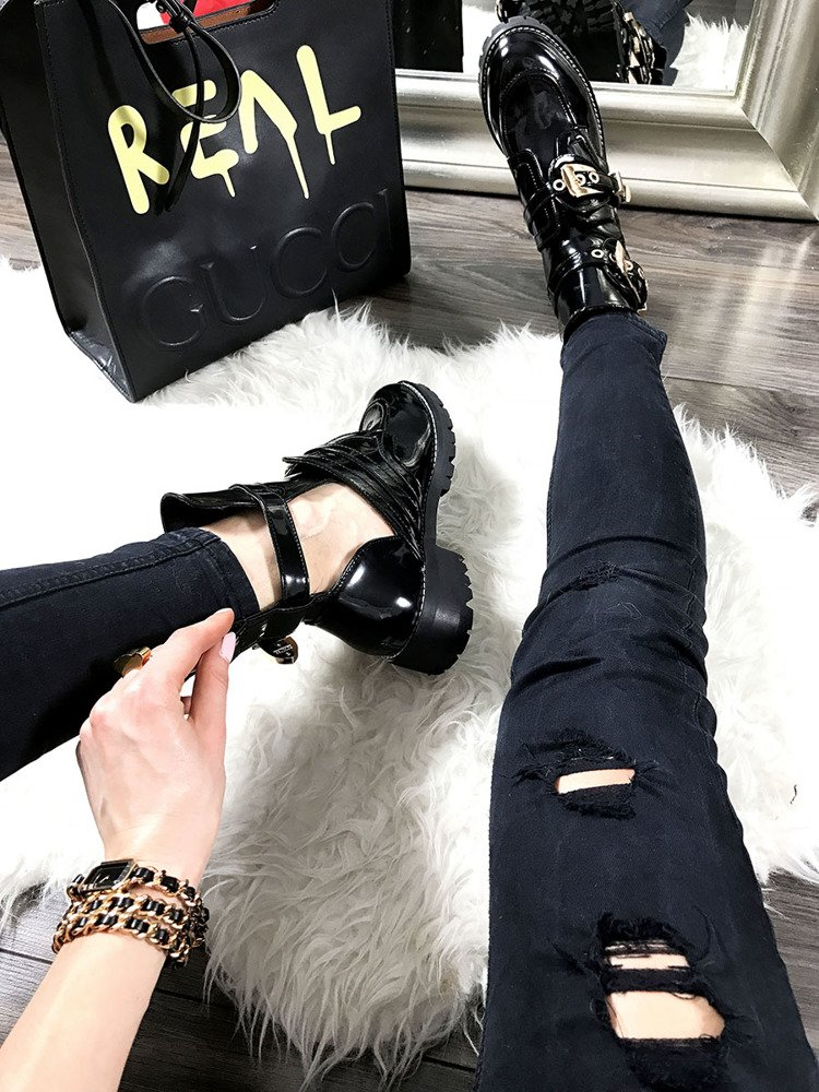 LU BOO BLACK PATENT CUT OUT BOOTS