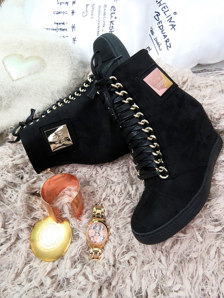 LU BOO BLACK SNEAKERS TRAINERS WEDGES CASSI