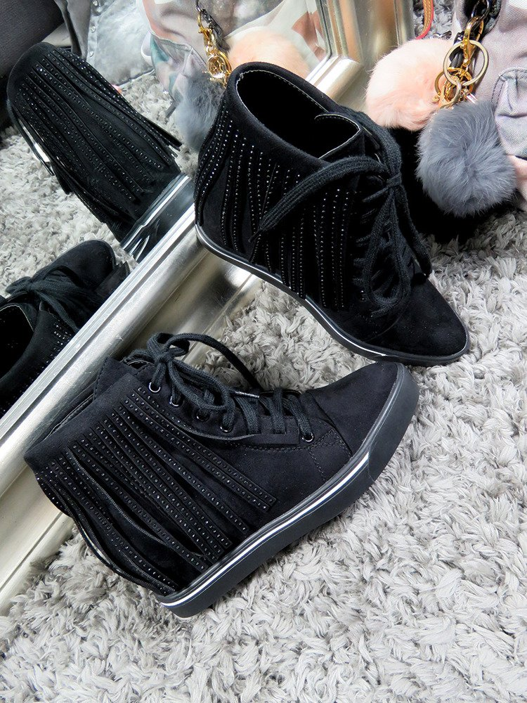 LU BOO Fringe Trainers Wedge Black Ankle Boots High Platform Sneakers