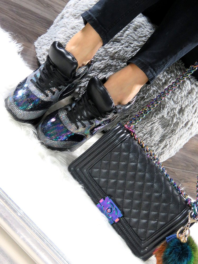 LU BOO HOLOGRAPHIC SNEAKERS SHOES SEQUINS WEDGE