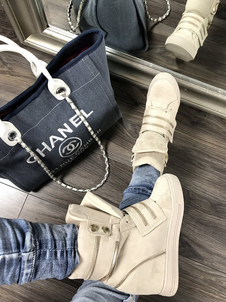 LU BOO NUDE HI TOP SNEAKERS WEDGES WITH FANCY ZIPS