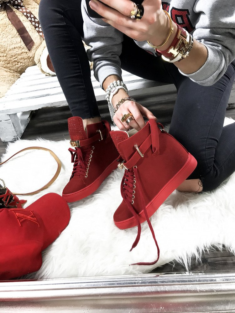 LU BOO RED FAUX SUEDE WEDGE SNEAKERS GOLD KEY & PADLOCK