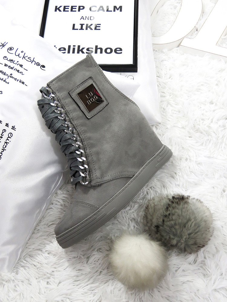 LU BOO grey SNEAKERS TRAINERS WEDGES CASSI
