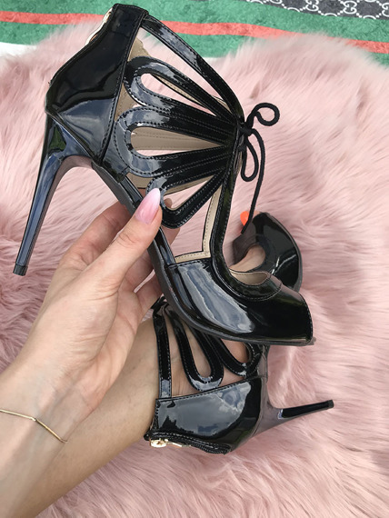 Black Elegant patent high heels sandals