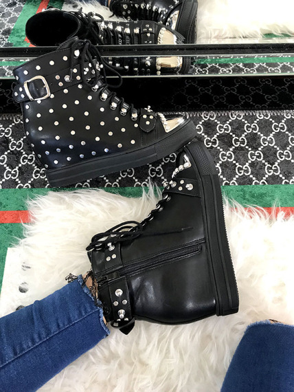 Black Hi Top Sneakers Wedges Rock
