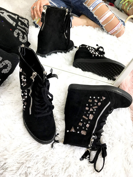 Black High-top trainers with crystals Paris