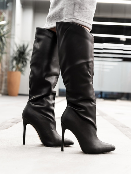Black PU Elegant Knee High Boots