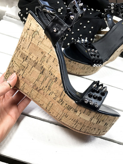 Black Platform Wedge Sandals with studds