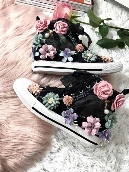 Black high top sneakers Floral