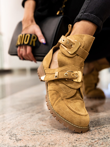 Camel Suede Cut Out Boots