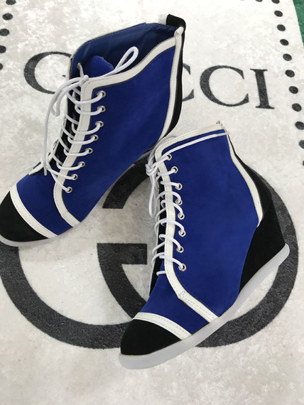 Colorful lace up sneakers wedges FUN