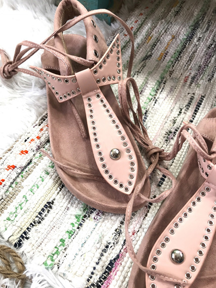 FAUX  PINK SUEDE STUDDED GLADIATOR SANDALS