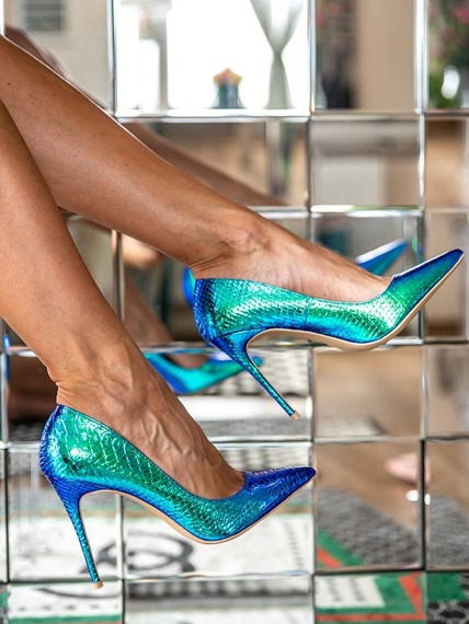 Green Shiny Mermaid High Heels Glam