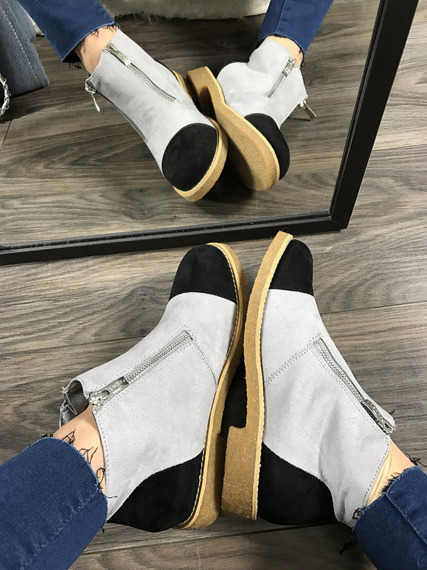 Grey Ankle Shoes With Fancy Zippers