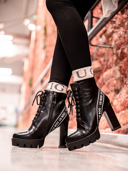 High Heel Lace Up Boots