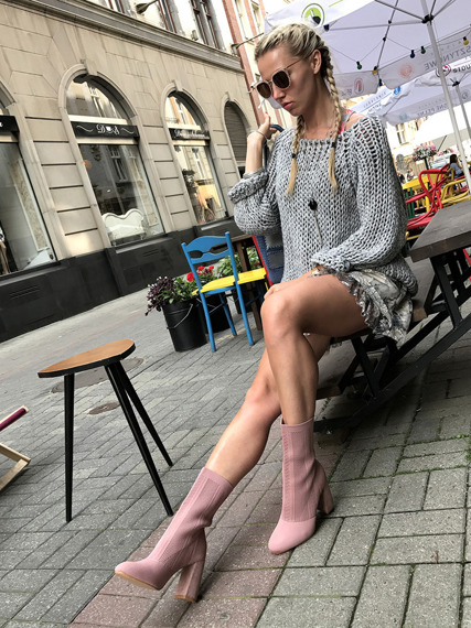 High Heel Sock Fit Ankle Boots