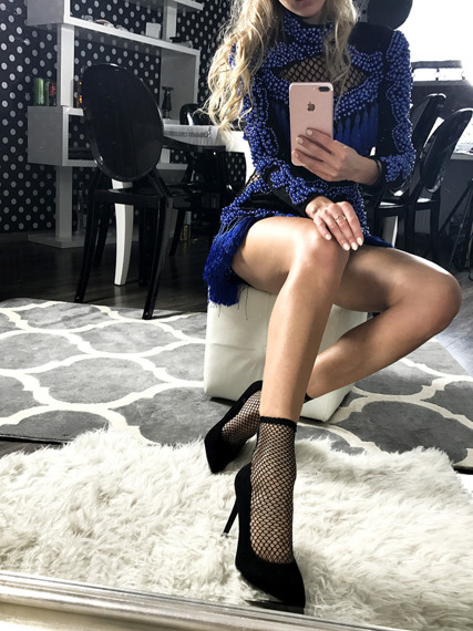 High heel shoes with mesh