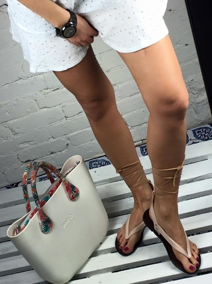 Beige Lace Up Gladiator Sandals