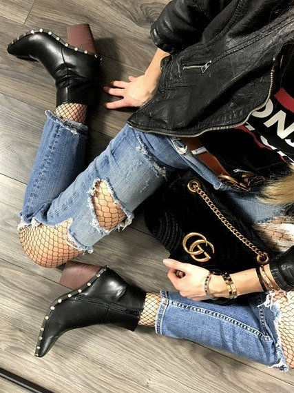 Black Ankle Boots Studded Cowboy