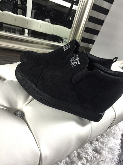 LU BOO BLACK SLIP ON SHOES