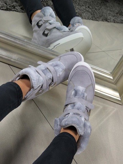LU BOO COMFORTABLE Grey WARM SNEAKERS BOOTS WITH SOFT FUR