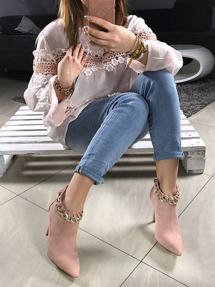 LU BOO FAUX SUEDE ANKLE SHOES WITH GOLD CHAIN