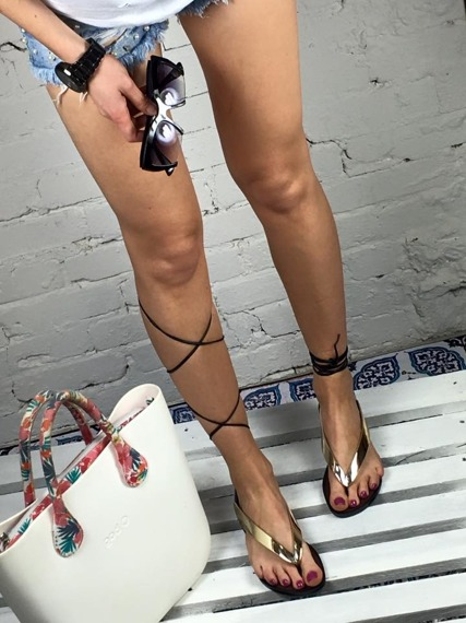 LU BOO GOLD LACE UP GLADIATOR SANDALS