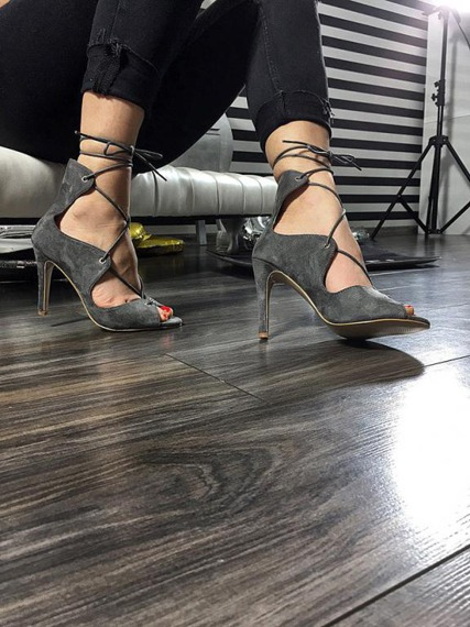 Grey High Heels Sandals Laila