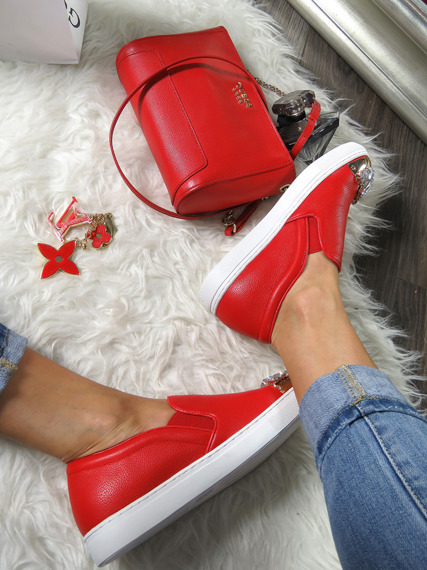 Red Slip On Shoes With Glitter Jewels