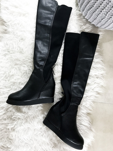 LU BOO SUEDE KNEE BOOTS WEDGES
