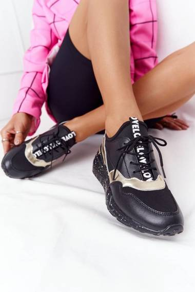 Leather Wedge Sneakers S.Barski Black-Gold