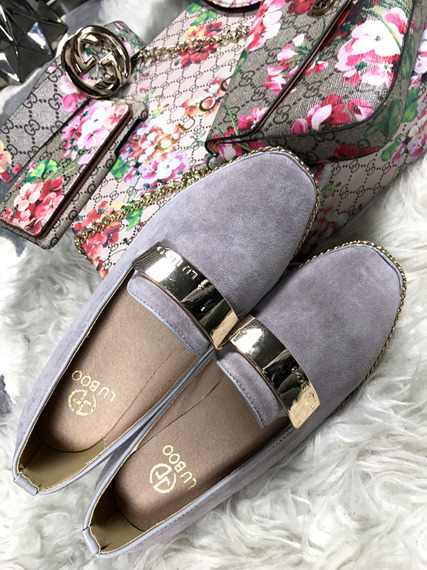 Lu Boo Grey loafer with badge Chain