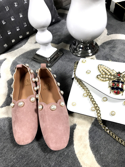 Lu Boo Pink loafers Pearls