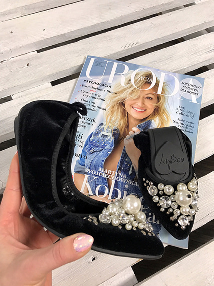 Lu Boo black ballerina shoes with pearls
