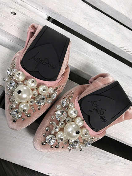 Lu Boo pink ballerina shoes with pearls