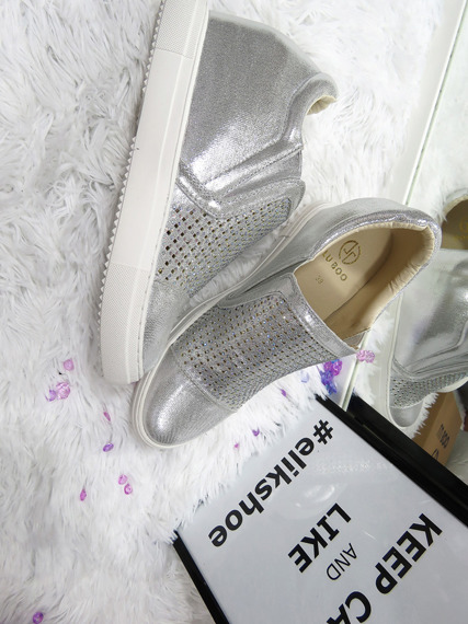 Silver Slip On Sneakers wedges Abrielle