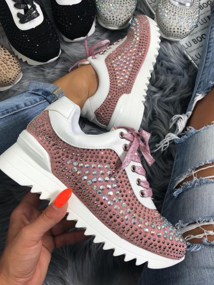 Pink sneakers with Crystals