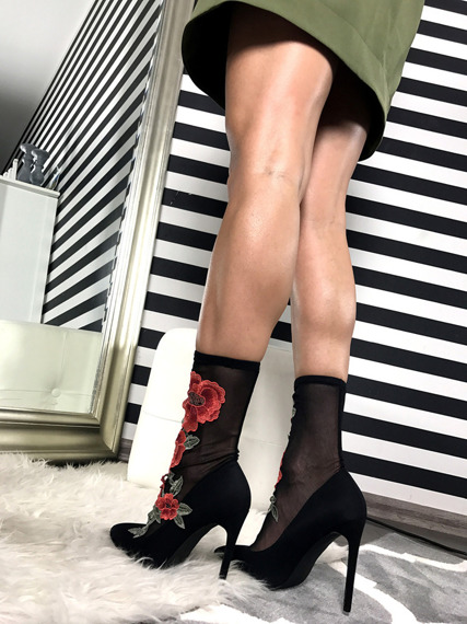 Stiletto sock fit lace ankle boots Flower