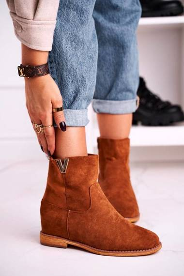 Women's Ankle Boots Hidden Wedge Suede Camel Vanya