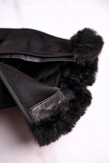 Women's Ankle Boots With Fur Suede Black Sophie