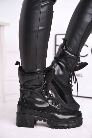 Women's Boots Laced Black Ridley