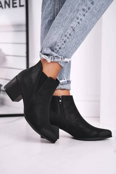 Women's Boots On Heel Sergio Leone Eco Nubuck Black BT621