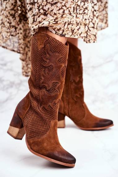 Women's Boots On High Heel Leather Cognac High Rosemary