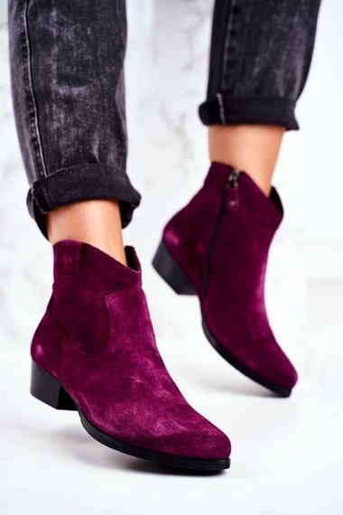 Women's Boots On a Heel Maciejka Leather VIolet 04289-05