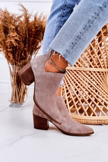 Women's Boots With A Cut On Block Heel Suede Cappuccino Lawrence