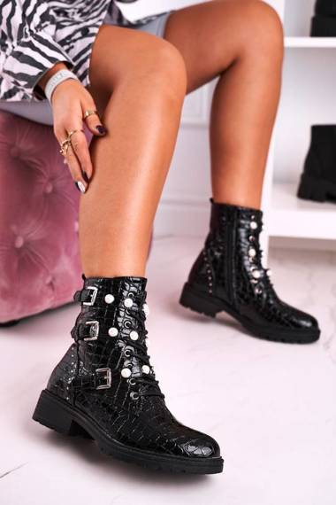 Women's Boots With Pearls Shiny Black Animal Print Whitney