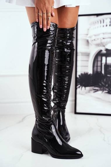 Women's High Boots Latex Black So close