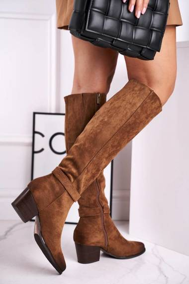 Women's High Boots On Heel Brown Nevermind